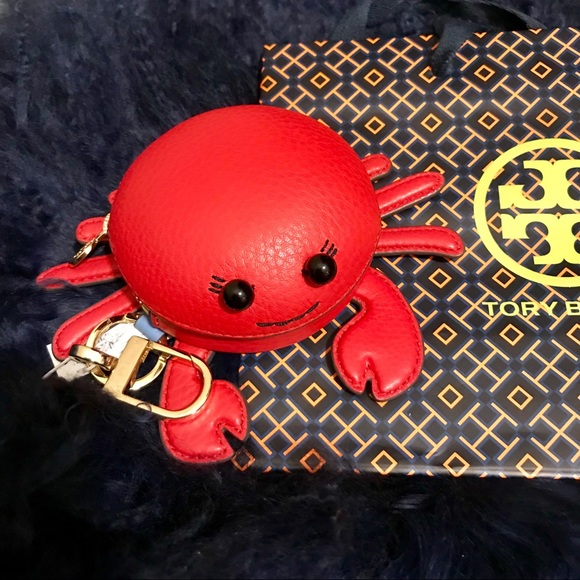 NWT Tory Burch Carl the Crab Keyfob Coin Case Bag Charm in Red